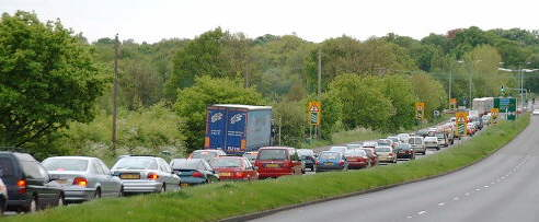 traffic queues on the A322 (20k)