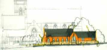 artist's imprsssion of a read brick building in front of the outline of a church
